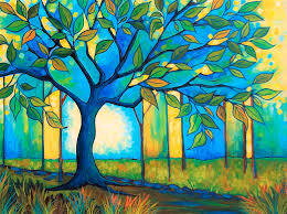 Big Blue Tree Painting by Peggy Davis