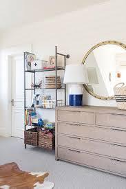 Extra Large Round Brass Mirror Over Kids Dresser Transitional Boy S Room
