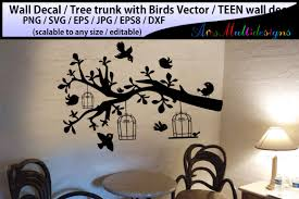Teen Girl Bedroom Wall Decal Wall Decal Silhouette Birds Svg Silhouette Tree With Bird By Arcsmultidesignsshop Thehungryjpeg Com