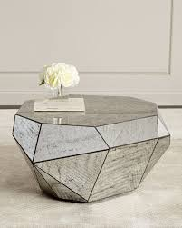 dimensional antiqued mirror coffee table