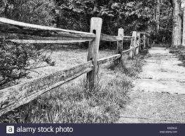 Split Rail Fence In Black And White Stock Photo Alamy