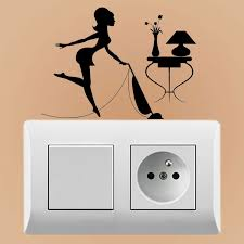 Yjzt Housewife Cleaning Cleaner Woman Maid Vacuums Home Decor Wall Decal Vinyl Accessories Switch Sticker S18 0080 Wall Stickers Aliexpress