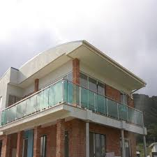 frosted glass villa balcony railing design