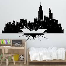 Batman Vinyl Wall Sticker Gotham Skyline Wall Poster Kids Room Decoration Gift Dark Knight Wall Decal Vinyl Arts Az218 Aliexpress Com Imall Com