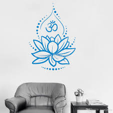 Creative Lotus Vinyl Wall Decals Om Sign Vinyl Wall Stickers Yoga Meditating Decal Murals Removable Art Room Decor Flower Stickers For Walls In Bedrooms Stickers For Your Wall From Joystickers 10 49 Dhgate Com