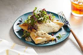 Parmesan-crusted halibut on phyllo ...