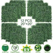 Uyoyous Artificial Hedge Fence Panels 24 X 16 Green Plants Hedge Tiles Privacy Screen Panels Uv Protection Gardens Fence Wall Decor For Indoor Outdoor 12 Pack