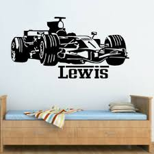 Personalised Any Name Boys Racing Car F1 Wall Sticker Decal Decor Kids Room Ebay