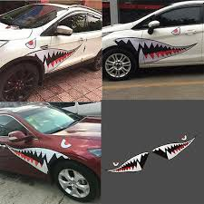 Left Right Large Shark Mouth Teeth Car Side Sticker Door Fender Vinyl Decal 1 5m Ebay
