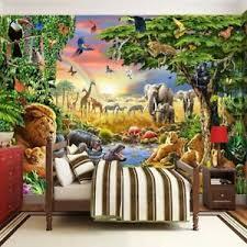 3d Jungle Safari Lion Elephant Wall Mural Wallpaper Kids Bedroom Nursery School Ebay