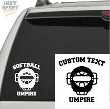 Vinyl Sports Car Decal Sticker Softball Umpire Mask With Text