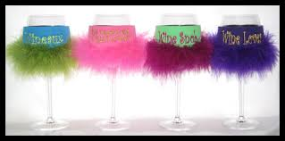 monogrammed wine glass feather cozies