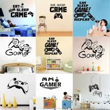 Creative Game Console Eat Sleepgame Wall Stickers For Kids Rooms Art Mural Children S Gifts Wall Stickers Aliexpress
