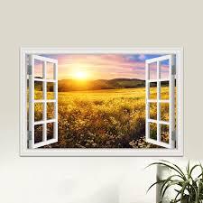Nature Beautiful Sky Prairie Sunset Landscape Sticker Decal Vinyl Mural Wallpaper Window View Removable Wall Sticker Decor Wall Stickers Aliexpress