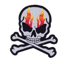 Small Flaming Skull Crossbones Motorcycle Jacket Patch