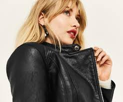faux leather collarless biker oasis