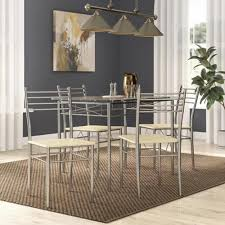 Shop Vecelo Glass Dining Table Sets With 4 Chairs Kitchen Table Sets On Sale Overstock 13023443
