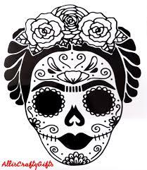 Frida Kahlo Sugar Skull Head Roses 5in X 6in Vinyl Decal Sticker Car Truck Laptop Wall Tumbler Black White Multi Color In 2020 Sugar Skull Artwork Sugar Skull Drawing Skull Stencil