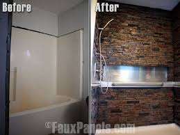 faux stone showers are an impressive