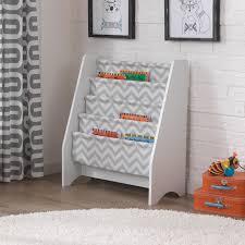 Shop Kid Kraft Grey Pattern White Canvas Sling Bookshelf Overstock 11862125