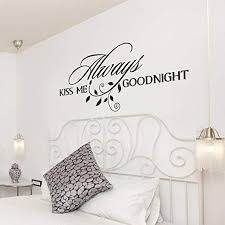 Amazon Com Always Kiss Me Goodnight Wall Decal Bedroom Quote Wall Decal Sticker 46x21 Purple Home Kitchen
