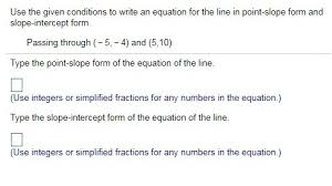writing an equation in point slope form