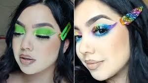 eye makeup to her hair clips