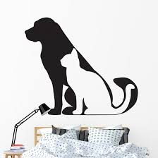Dog And Cat Silhouettes Side Wall Decal Wallmonkeys Com