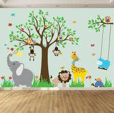 Wall Decals For Kids Nursery Wall Art Jungle Wall Stickers Baby Wall Stickers Tree Decals Jungle Theme Nursery Room Stickers Baby Wall Stickers Jungle Wall Stickers Childrens Wall Decals