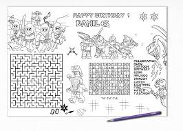 Printable Ninja Placemat Ninja Birthday Craft Activity Page