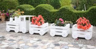 wooden train garden planter made with
