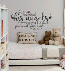 Psalm 91 11 He Will Command His Angels Wall Decal A Great Impression Angel Decor Angel Nursery Bible Verse Wall Art