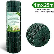 Amagabeli 1m X 25m Green Wire Mesh Fencing Ral6005 Pvc Coated 100 X 75mm Mesh Ebay