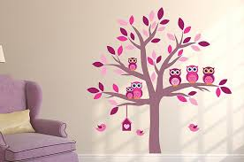 Pink Owl Tree Wall Decal Sticker Set Wall Decal Wallmonkeys Com