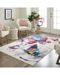 Amazing Deals On Zoomie Kids Engler Watercolor Butterflies Purple White Area Rug Oeqk2207 Rug Size Rectangle 8 X 10