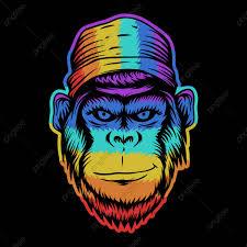 قرد رأسه ابتسامة ملونة ناقلات التوضيح حيوان القرود فن Png
