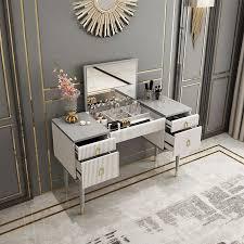 4 drawer makeup vanity table with flip