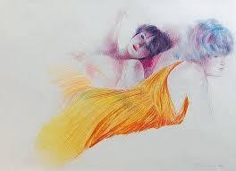 Adrian George (Brit. b.1944) - Yellow robes,