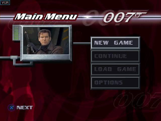 Menu do game, 007 tomorrow never dies