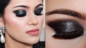 3 step shimmery black smokey eye makeup