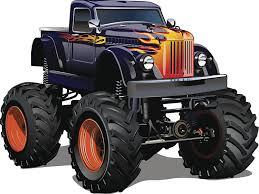 Amazon Com Large Manly Dangerous Monster Truck Cartoon Vintage Black Car With Flames With Orange Rims Vinyl Sticker 2 Wide Automotive