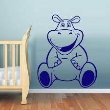 Wall Decal Vinyl Decal Sticker Hippopotamus Behemoth Funny Nursery Kids Baby Z543 Vinyl Wall Decals Music Wall Decal Wall Decals