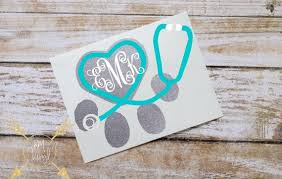 Veterinarian Monogram Glitter Vinyl Decal Custom Initials Glitter Sticker Stethoscope Paw Print Vet Tech Veter Vet Tech Gifts Glitter Vinyl Decal Vet Tech