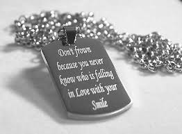 motivational inspirational love quote smile necklace dog tag