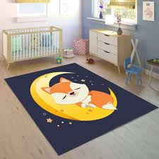 Else Navy Blue On Yellow Moon Brown Fox 3d Print Non Slip Microfiber Children Kids Room Decorative Area Rug Mat Aliexpress