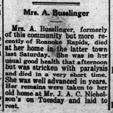 Virginia Adeline Thomas Busslinger, Obituary 1916 - Newspapers.com