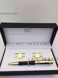 monaco ballpoint pen and gold cufflinks