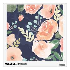 Blooming Delight Peach Blue Roses Poppies Wall Decal Zazzle Com