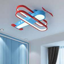 Aircraft Lighting Fixture Kids Room Metal And Acrylic 1 Light Ceiling Light Fixture In Red And Blue Beautifulhalo Com