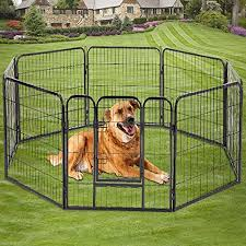 Amazon Com Dog Pen 8 Panel Folding Portable Pet Playpen With Door Heavy Duty Metal Puppy Dog Exercise Pen Indoor Outdoor Dog Fence Kennel For Small Large Dogs 24 32 40 Pet